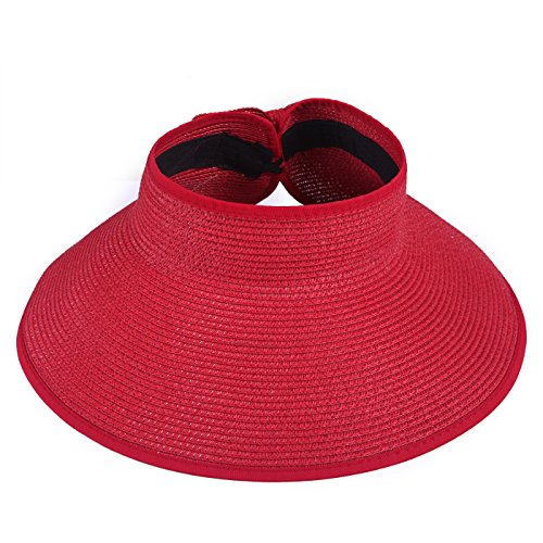- HDE Women's UPF 50+ Packable Crushable Roll Up Wide Brim Sun Visor Beach Straw Hat (Red)