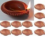 Diwali Diya Set of 11 Handmade Earthen Clay Terracotta Traditional Diya Dipawali Diya Diwali Diya Oil Lamps for Pooja Diwali Deepak Fancy Diya For Rongali