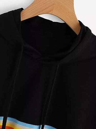 Amazon.com: Inkach Women Long Sleeve Hooded Sweatshirt, Rainbow Patchwork Hoodies Pullover Blouse Tops: Sports & Outdoors