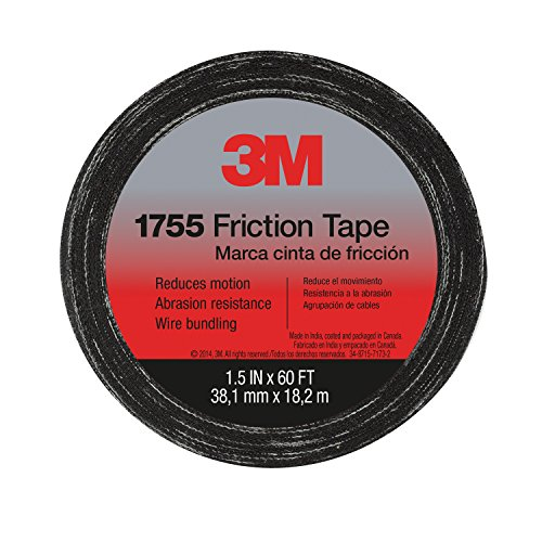 3M 57173-S-10 Temflex Friction Tape 1755, Black, 1.5 Inches X 60 Feet by 3M