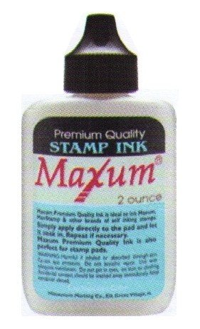 Maxum Premium Quality Stamp Ink for Self-inking Stamps, 2 oz., Black