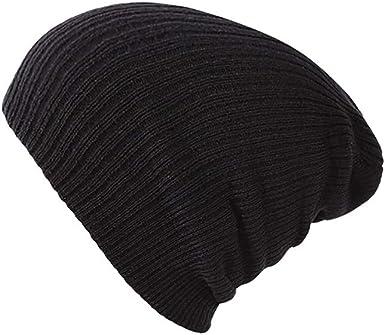 Sombrero De Punto para Mujer Hombre Gorra Gorros De Algodón para Niña Invierno Liso Sombreros Hembra Gorra Sólida Otoño, Black-OneSize: Amazon.es: Ropa y accesorios