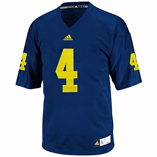 Michigan Wolverines Adidas #4 Blue Replica Performance Football Jersey (Medium)