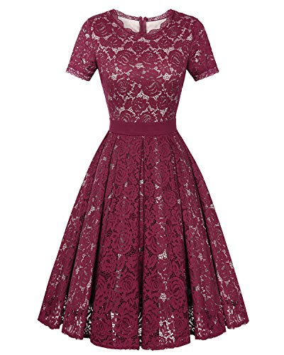 Lace Tea Dress - Genhoo Women's Bridesmaid Vintage Tea Dress Floral Lace Cocktail Formal Swing A-Line Dress with Short Sleeve Wine Red XXL