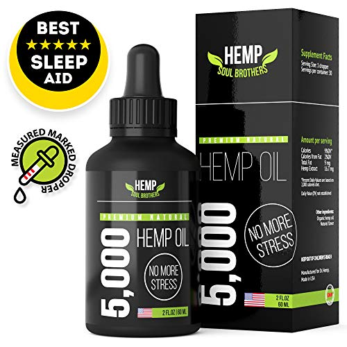 Hemp Oil Extract – 5000mg – Reduce Stress and Anxiety – Mood and Sleep Supplement – Pain Relief – Rich in MCT Fatty Acids – Made in USA