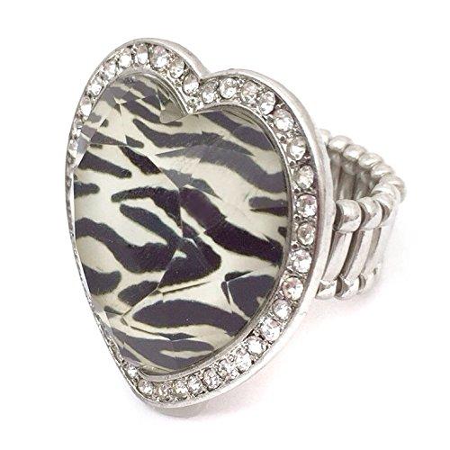 Zebra Stripe Print Heart Silver Tone Rhinestone Cocktail Stretch Ring Jewel Tone Stripes
