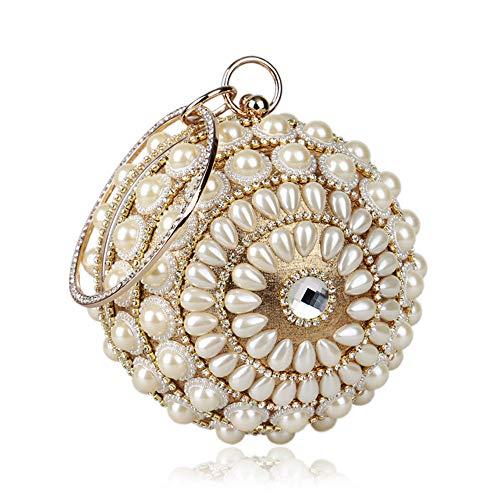 rocaille de Couleur à pour Perles soirée Soirée Sumferkyh pour de Golden Perles à Main Pochette de Golden Mariage en Sac Femmes U76qtSxP