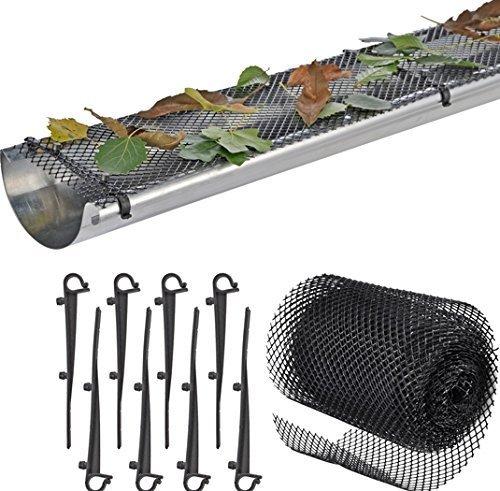 Gutter Guardias con 15Clip Ganchos para fácil instalación. 6,5en de ancho por 5,5m de largo. Alta resistencia de...