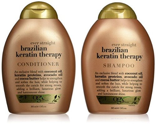 Organix Ever Straight Brazilian Keratin Therapy Shampoo and Conditioner Set, 13 Ounce Each