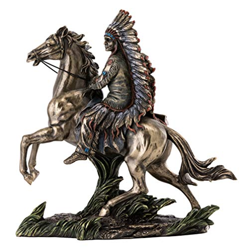 Top Collection Chief Sitting Bull on Horseback Statue – Native American Sculpture with Beautiful Headdress in Premium Cold Cast Bronze- 10.75-Inch Collectible Indigenous Warrior Figurine