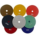 Konfor Professional Grade Diamond Polishing Pads 5 inch Wet 7 Piece Set Granite Stone Concrete Marble