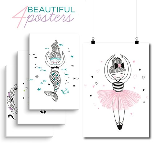 Perfect Posters For Your Girl    Ballerina Dance Posters  Ballet Picture Poster  4 Set Of Sweet Posters  Perfect Room Decoration For Girls  11X17inches With Mounting Tapes Included  By Little Big Drop