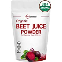 USDA Organic Beet Root Juice Powder,1 Pound, Natural Nitrates for Energy Booster, Best Superfoods. Non-Irradiated, Non-Contaminated, Non-GMO and Vegan Friendly