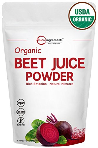 Organic Beet Root Juice Powder 1 Pound, Natural Nitrates for Energy Booster, Best Superfoods & Flavor for Beverage and Smoothie, Non-Irradiated, Non-Contaminated, Non-GMO and Vegan Friendly