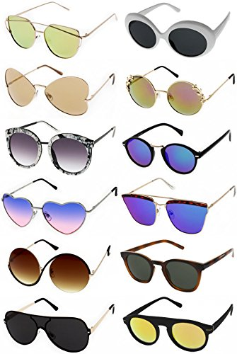 COACHELLA SUNGLASSES - Festival Sunglasses (12 Pack). Assorted Trendy and Stylish Retro Sunglasses Bulk Wholesale. Bachelorette Party, Bridesmaid Party Favors, Cheap Fashion Designer Sunglasses