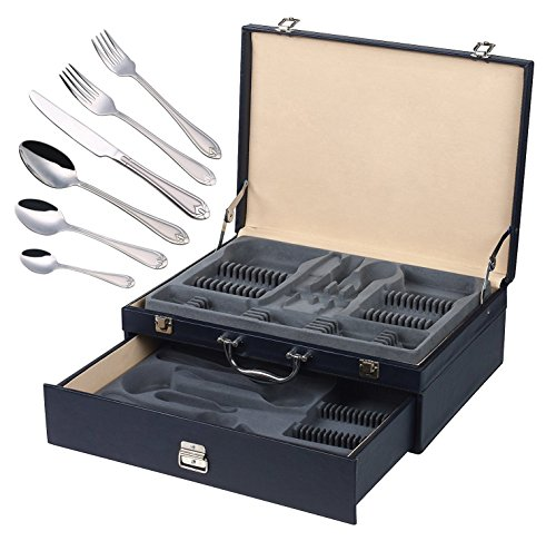 Italian Collection 'Lorena Platinum' 84-Pc Flatware Set w/Leather Storage Case, Dining Cutlery Service for 12, 24K Gold plated 18/10 Stainless Steel Hostess Serving Set in a Chest