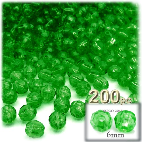 The Crafts Outlet 200-Piece Faceted Plastic Transparent Round Beads, 6mm, Emerald ()