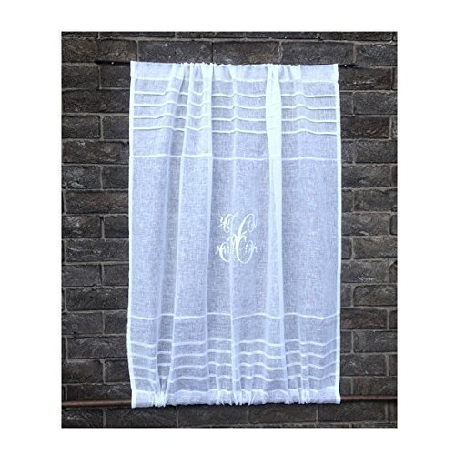 Custom Sidelight Sheer Linen Door Curtain Gauze Cabinet Panel Personalized Monogram White, Natural or Ivory