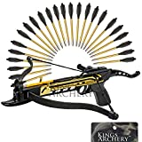 Crossbow Self-Cocking 80 LBS by KingsArchery® with Adjustable Sights and a Total of 27 Aluminim Arrow Bolt Set + KingsArchery® Warranty