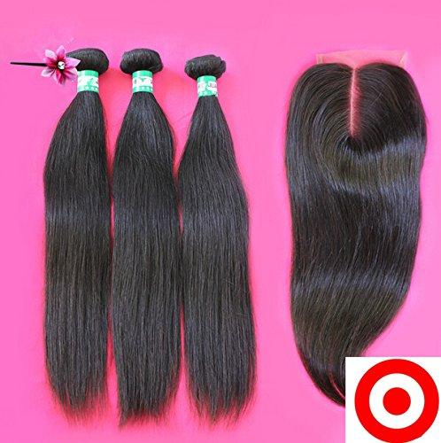 DaJun hair Middle Part 4Pcs/lot Virgin Malaysian Remy Human Hair 3 Bundles Hair Weaves Mixed Length With 1Pc 4x4 Closure Natural Straight Natural Color