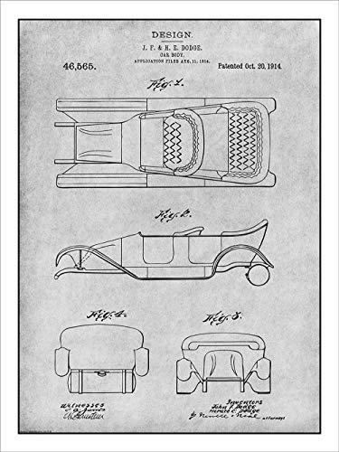 Studio 21 Graphix 1914 Dodge Brothers Car Body Design Patent Print Art Poster UNFRAMED Gray 18