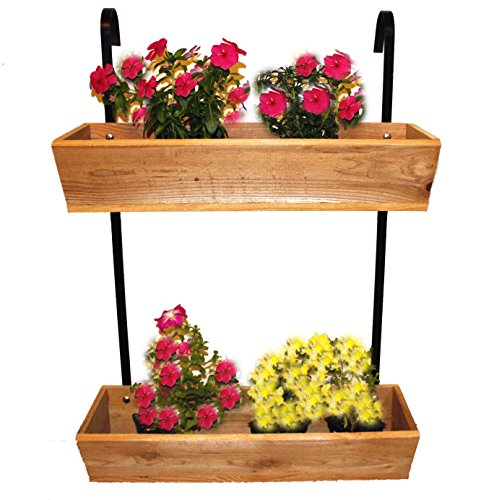 Cedar Garden Planter Box Hangs on Fence Brackets Included For Sale