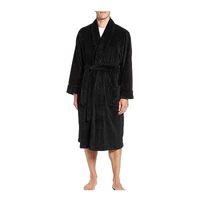 Majestic International Men's Plush Fleece Robe (S, Black) at Men's Clothing store