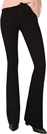 James Jeans Women's High Rise Shayebel Trouser Flare Jeans in Black Swan - Size 31