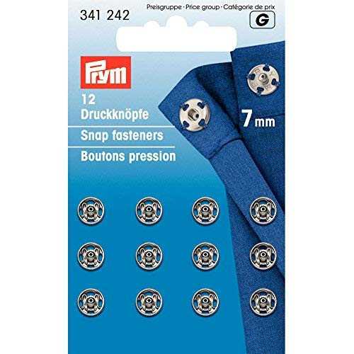 PRYM 7 mm 12 Set Brass Sew On Snap Fasteners, Silver - 341242 (7mm Snap)
