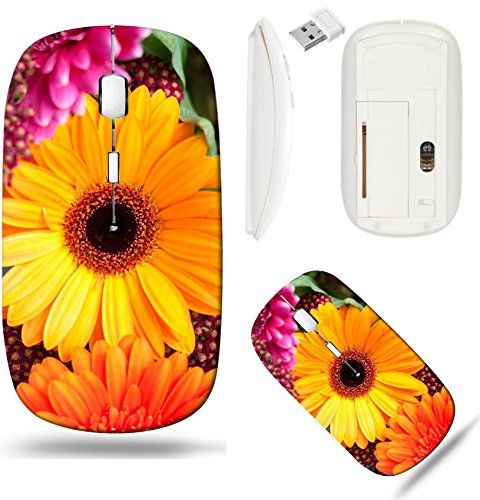Liili Wireless Mouse White Base Travel 2.4G Wireless Mice with USB Receiver, Click with 1000 DPI for notebook, pc, laptop, computer, mac book ID: 27504395 Gerbera Daisies flower pink yellow and orange - Gerbera Daisy Base