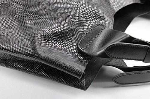 Belli - Bolso de asas de Piel para mujer - Schwarz mit Muster