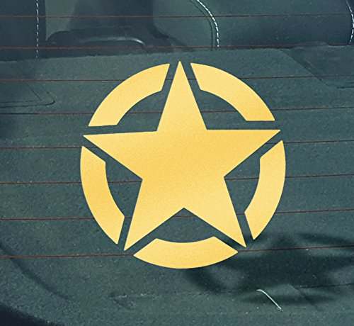 GS2113 Military, WWII Star 02, Vinyl Car Decal, 'GOLD', '5-by-5 inches'