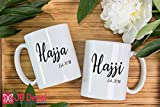 Hajja and Hajji - Islamic Mugs set for couple - Personalised Muslim Gifts - printed Islamic Mugs Gifts for Muslim Fathers and Mothers - Personalized Islamic weeding gift, Muslim mugs coffee Mugs