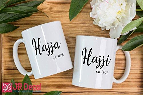 Hajja and Hajji - Islamic Mugs set for couple - Personalised Muslim Gifts - printed Islamic Mugs Gifts for Muslim Fathers and Mothers - Personalized Islamic weeding gift, Muslim mugs coffee Mugs by JR Decal Wall Sticker