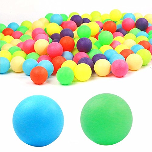 100 PCS Colored Ping Pong Balls Entertainment Table Tennis Balls Mixed Colors for Game Size 40mm by Generic