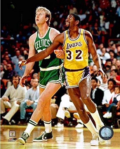 NBA Larry Bird & Magic Johnson Action Photo (Size: 11