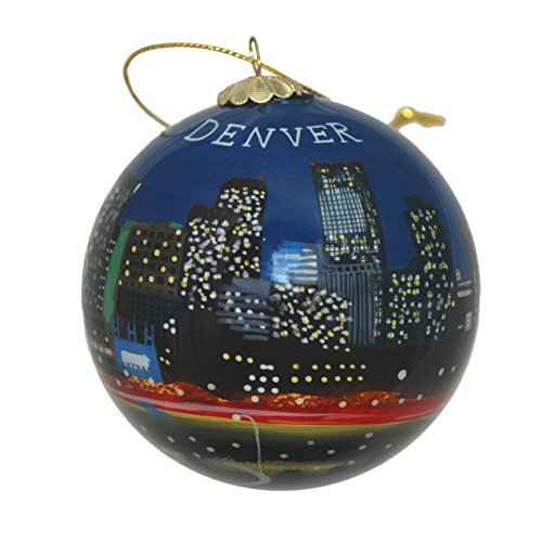 Colorado Art Glass (Hand Painted Glass Christmas Ornament - Denver, Colorado Night Skyline)