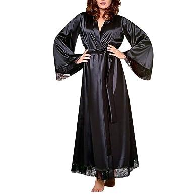 Conjuntos de Lencería Mujeres SUNNSEAN Atractivo Casual Sexy Vestido de Bata de Seda Encaje Largo Tanga y Cinturón Babydoll Camisón Ropa de Baño: Amazon.es: ...