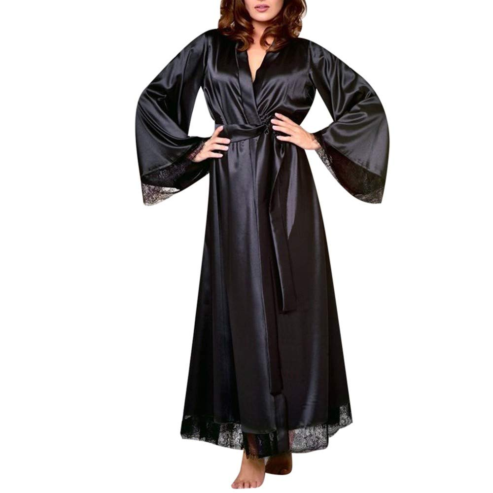 Gibobby Night Dress for Women Pure Color Lace Satin Kimono Long Robe Silk Bridal Bridesmaid Robe Sleepwear Black