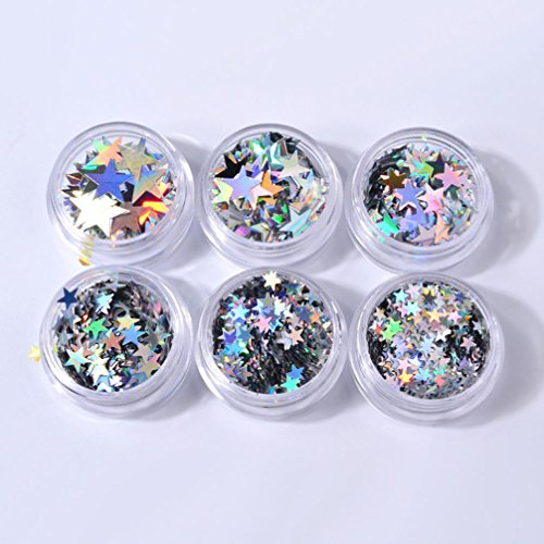 Vincent&July 6 Box Star Shaped Dazzling Glitter DIY Nail Sticker Colorful Different Size Nail Art -