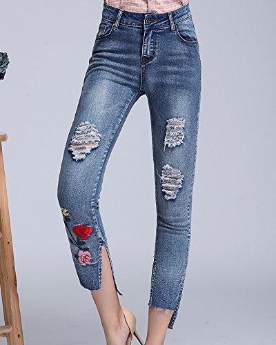 Pantalon Bleu Femmes Jeans Brodes Denim Skinny Clair Fleurs xwzHwXg