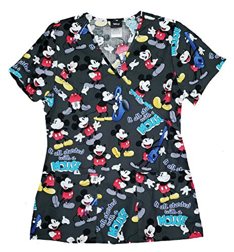 - Disney Mickey Mouse It All Started with a Mouse V-Neck Scrub Top - Medium Black