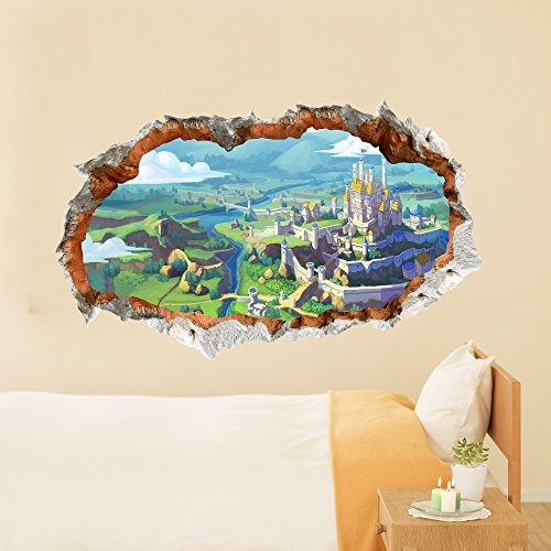 3D (Castle vision) wall sticker wallpaper HD self-adhesive paper background bedroom living room TV sofa (5894.8cm) Christmas Halloween decorations-YU&XIN