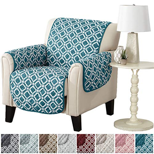 Modern Printed Reversible Stain Resistant Furniture Protector with Geometric Design. Perfect for Pets and Kids. Adjustable Elastic Straps Included. Liliana Collection (Chair, Teal / Optic White) -