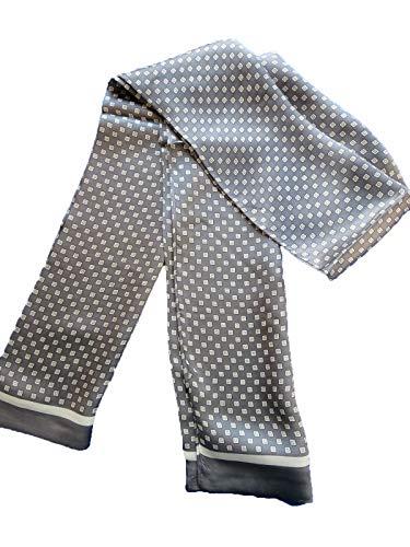 100% Silk Double Layer Men Scarf Neckerchief Fashion (Gray square)