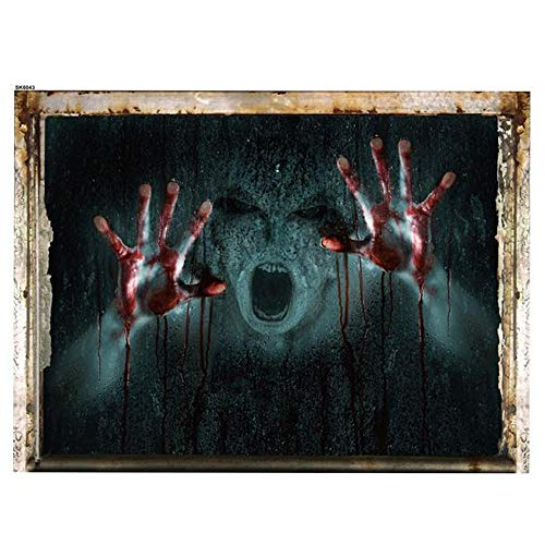AOLVO 3D Halloween Wall Decal 3D Zombie Wall Sticker Removable Horror Creepy Ghost Wall Cracked Vinyl Mural Wallpaper for Halloween Party Window Floor Wall Living Room -