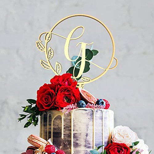 (G Letter Monogram en Mirrored Cake Topper,Wedding Gold Cake Decoration Favors Cake Decorating Party Supplies)