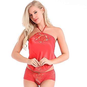 Mozka Seda Mujer Pijamas Primavera Y Verano Encaje Bordado Adulto Dudou  Señoras Sexy Tentación Lencería Sexy  Amazon.es  Ropa y accesorios 78dcf241dc9c