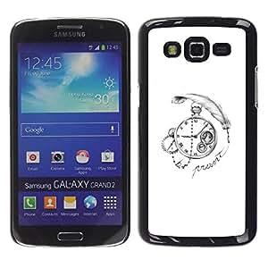 TopCaseStore / la caja del caucho duro de la cubierta de protección de la piel - Write Watch White Black - Samsung Galaxy Grand 2 SM-G7102 SM-G7105