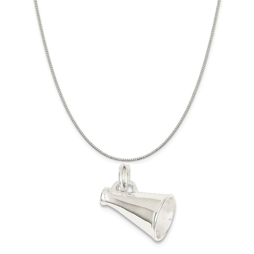 16-20 Mireval Sterling Silver Megaphone Charm on a Sterling Silver Chain Necklace